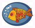 Cute gold fish sign or symbol Royalty Free Stock Images