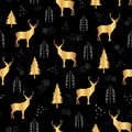 Cute golden deer fire trees and white dots on black background. Seamless repeat christmas pattern for print or textile design.