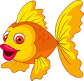 Cute golden fish cartoon illustration of Stock Photography