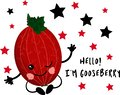 Cute gooseberries. Hi, I`m a fruit. Greeting card or poster for children`s learning, printing on clothes or utensils. Character