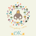Cute gorilla floral background with in cartoon style everything will be ok background Stock Photo