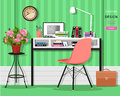 Cute grahic home office room interior with desk, chair, lamp, books, bag and flowers.