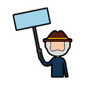 Cute grandfather with protest label avatar character