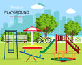 Cute graphic children playground set: swings, children`s slide, carousel, sandbox, bench, bicycle, trees and city background. Royalty Free Stock Photo