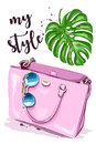 Cute graphic set with stylish accessories: sunglasses and pink bag. Sketch.