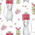 Cute gray mouse or rat 2020. Merry Christmas seamless pattern with watercolor illustration of a baby mice animals with sweet candi Royalty Free Stock Photo
