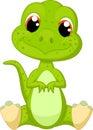 Cute green dinosaur cartoon illustration of Stock Image