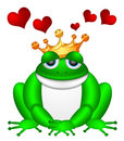 Cute Green Frog with Crown Illustration Royalty Free Stock Images