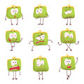 Cute green humanized purse with funny faces set of colorful characters vector Illustrations