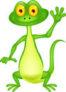 Cute green lizard cartoon waving hand illustration of Stock Image
