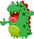 Cute green monster cartoon illustration of Royalty Free Stock Images
