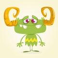 Cute green monster. Vector Halloween horned monster character mascot