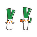 Cute green onion character