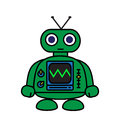 Cute green robot illustration comic style Stock Photo