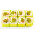 Cute green sushi roll Royalty Free Stock Image