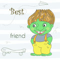 Cute green troll dragon in cartoon style. Sample comic illustration