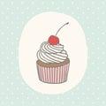 Cute greeting card with cupcake.