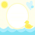 Cute greeting card with duckling on a water, sun and heart. Royalty Free Stock Photo