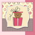 Cute greeting card with teddy bear Stock Photo