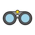 Cute grey binoculars cartoon Royalty Free Stock Photo