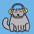 Cute grey cat in headphones ??????? ??????. Vector illustration.