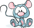 Cute grey mouse sitting on white background Royalty Free Stock Photo