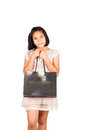 Cute gril hold bag shopping Royalty Free Stock Photo