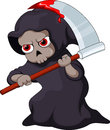 Cute grim reaper cartoon funny with a bloody scythe Royalty Free Stock Photography