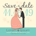 Cute groom and bride cartoon wedding invitation card Royalty Free Stock Photo