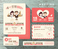 Cute groom and bride couple wedding invitation set design Template Royalty Free Stock Photo