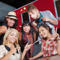 Cute Group at Food Truck Stock Photos