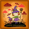 Cute halloween background with witch and a cat vector party card Royalty Free Stock Images