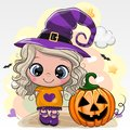 Halloween card with girl in a hat of witch on a yellow background Royalty Free Stock Photo