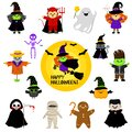 Cute Halloween characters in cartoon style. Set. Children in festive costumes. Vector clipart Royalty Free Stock Photo