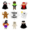 Cute Halloween characters in cartoon style. Set. Trick or treat. Vector Royalty Free Stock Photo