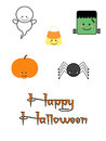 Cute halloween characters childrens holiday clipart for scrapbooking card making paper crafting and more including happy text Royalty Free Stock Photography