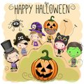 Cute Halloween illustration with kids