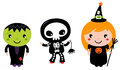 Cute halloween kids happy in costumes vector cartoon illustration Stock Photography