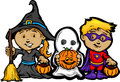 Cute Halloween Kids In Trick or Treat Costumes Stock Image