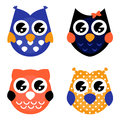 Cute Halloween owls collection isolated on white Stock Image