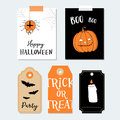 Cute Halloween party cards, invitations. Paper gift tags. Pumpkin, spider, bat.  Hand drawn  illustration backgrounds. Royalty Free Stock Photo