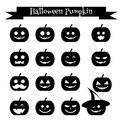 Cute halloween pumpkin emoji icons set. Emoticons, stickers, design elemets,  black silhouettes Royalty Free Stock Photo