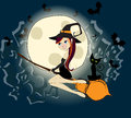 Cute halloween witch with black cat flying in fron vector illustration of a on a broom front of the full moon concept Stock Image