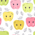 Cute hand drawn apple seamless pattern. Sweet food vector background. Delicious summer design. Wrapping, print
