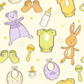 Cute hand drawn baby background seamless pattern Royalty Free Stock Photo