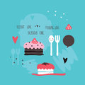 Cute hand drawn cakes Delicious Sweet dessert banner