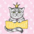 Cute hand drawn card, Cat and inscription- free hugs, floral bac