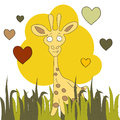 Cute hand drawn card, postcard with giraffe,