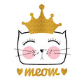 Cute Hand Drawn Cat Vector Illustration. Little Princess with Cr