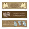 Cute hand drawn cats banners template Royalty Free Stock Photo